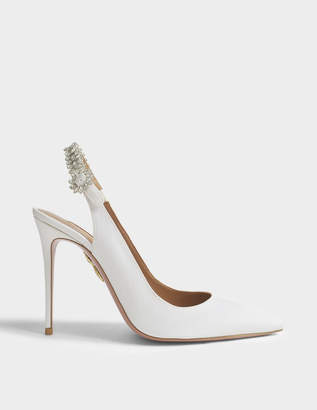 Aquazzura Portrait Of Lady 105 Slingbacks in White Satin Silk and Rhinestones