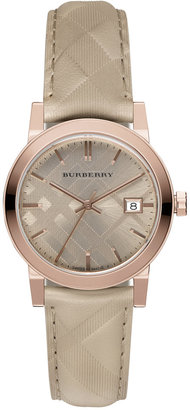 Burberry Women's Swiss The Classic Round Trench Check-Embossed Leather Strap Watch 34mm BU9154 $595 thestylecure.com