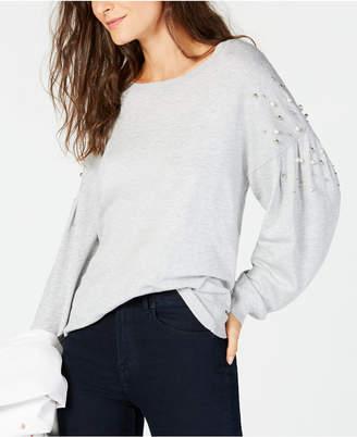 INC International Concepts I.n.c. Embellished Balloon-Sleeve Sweater