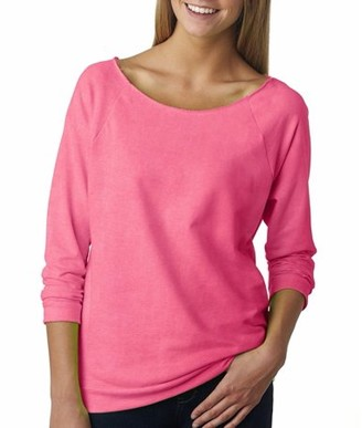 Clementine Apparel Women's Terry Raw-Edge 3/4-Sleeve Sweatshirt