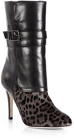 Jimmy Choo Ballad Leopard-Print Pony Hair & Leather Mid-Calf Boots
