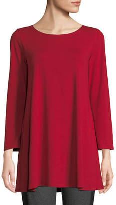 Eileen Fisher Petite Wide-Sleeve Ballet-Neck Viscose Jersey Tunic