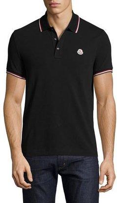 Moncler Tipped Piqué Polo Shirt, Black $170 thestylecure.com
