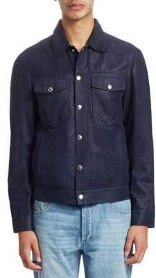 Brunello Cucinelli Washed Leather Trucker Jacket