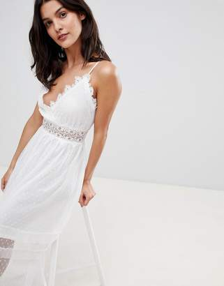 Liquorish Cross Back Lace Cami Maxi Dress