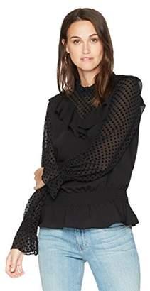 Ella Moon Women's Kacy Mock Neck Long Sleeve Smocked Waist Top