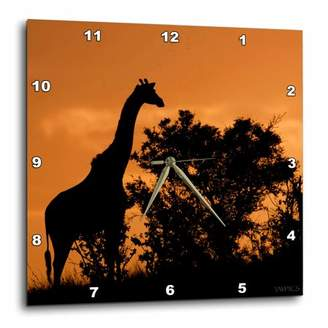3dRose Giraffe near Acacia Tree sillouetted against the sky at sunset.Serengeti National Park,Tanzania, Wall Clock, 10 by 10-inch