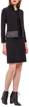 Akris Ilke Organza-Hem Long-Sleeve Jacket, Black
