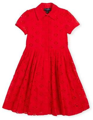 Oscar de la Renta Floral Eyelet Pleated Shirtdress, Cherry, Size 2-14 $310 thestylecure.com
