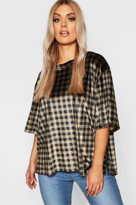 boohoo Plus Oversized Velvet Check T Shirt