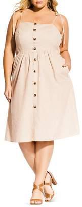 City Chic Plus Riviera Striped Button-Front Dress