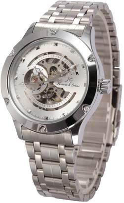 K&S Kronen Soehne KS Navigator Skeleton White Dial Automatic Men's Mechanical Steel Waterproof Watch KS206