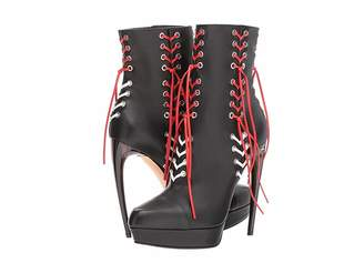 Alexander McQueen Leather Braided Lace Boot Women's Shoes