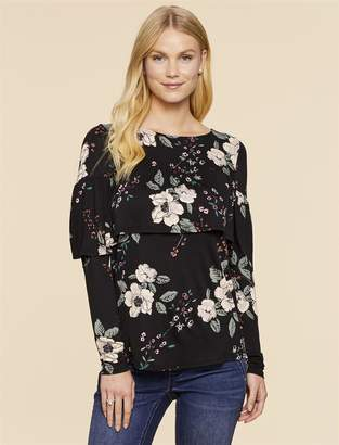 Jessica Simpson Motherhood Maternity Lift Up Ruffle Nursing Top
