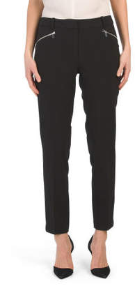 Zipper Pocket Slim Leg Woven Pants