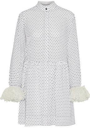 Christopher Kane Polka-Dot Voile-Trimmed Flocked Cotton-Poplin Mini Shirt Dress