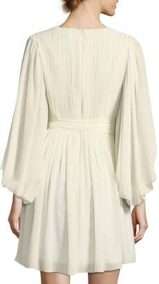 Halston Full-Sleeve V-Neck Plisse Chiffon Cocktail Dress