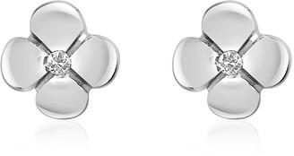 Forzieri 0.055 ct Diamond Flower 18K Gold Earrings