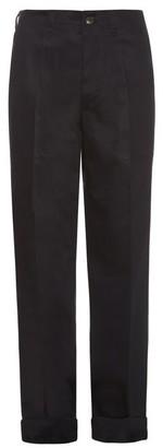 Mafalda Von Hessen - Wide Leg Cotton Blend Trousers - Womens - Navy