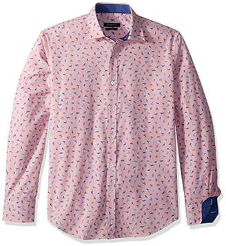 Bugatchi Men's Shaped Fit Long Sleeve Point Collar Button Down Shirt