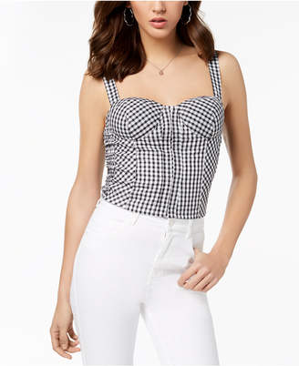 GUESS Smocked Gingham-Print Bustier