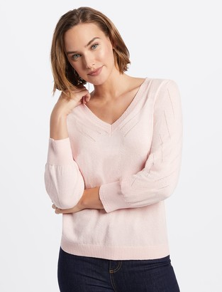 Draper James V-Neck Puff Sleeve Sweater