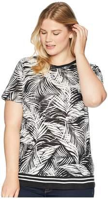 Lauren Ralph Lauren Plus Size Tropical-Print Linen-Blend Top Women's Clothing