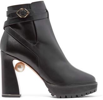 Nicholas Kirkwood Annabel Embellished Leather Boots - Black