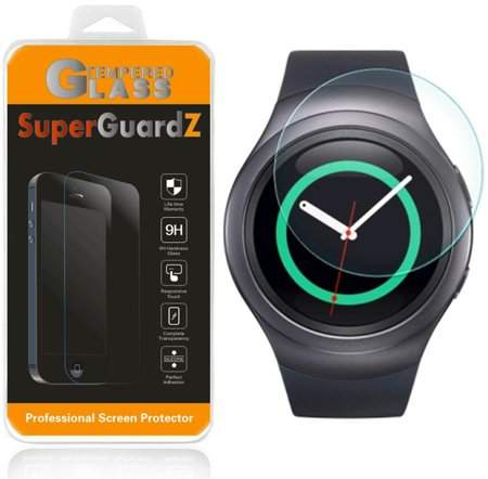 [2-Pack] For Samsung Gear S2 / Samsung Gear S2 Classic - SuperGuardZ Tempered Glass Screen Protector [Anti-Scratch, Anti-Bubble] + LED Stylus Pen