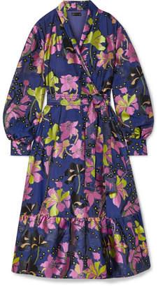 Stine Goya Niki Floral-jacquard Wrap Dress - Navy