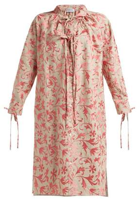 Osman Rosa Floral Embroidered Linen Dress - Womens - Pink Multi