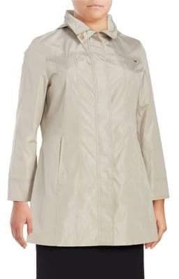 Ellen Tracy Plus Snap Front Packable Raincoat