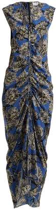 Raey Ruched-front giant floral-print silk dress