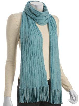 Autumn Cashmere celadon cable cashmere narrow scarf