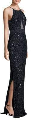 Aidan Mattox Embellished Floor-Length Gown