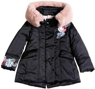69000076e3d3a MonnaLisa Nylon Satin Puffer Coat W  Faux Fur