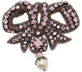 Gucci Bow Crystal Embellished Brooch - Womens - Pink