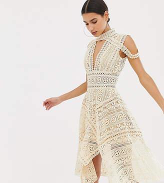 3c325f3083 Club L London cross over crochet trim detailed skater dress