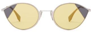 Fendi Cat Eye Metal Sunglasses - Womens - Yellow