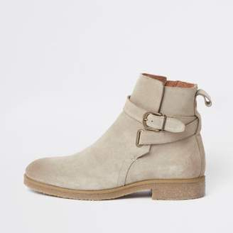 River Island Mens Stone suede buckle strap chelsea boots