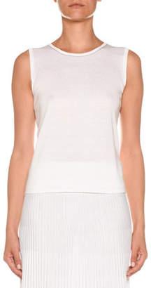 Agnona Crewneck Sleeveless Cotton-Silk Knit Top