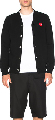 Comme des Garcons Lambswool Cardigan with Red Emblem in Black | FWRD