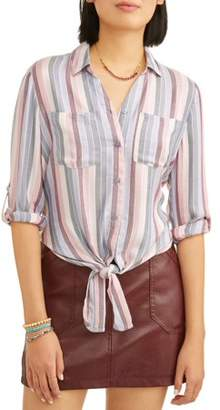 Paper Tee Juniors' Striped Tie Front Roll Tab Sleeve Blouse