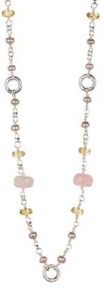 Stephen Dweck Sterling Silver Lemon Quartz & Pink Pearl Long Strand Necklace