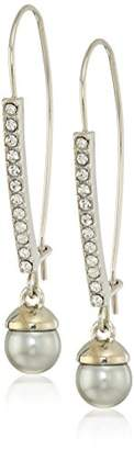 Kenneth Cole New York Womens Crystal and Silver Pearl Drop Earrings