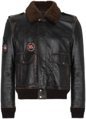 Saint Laurent Leather flight jacket with patches
