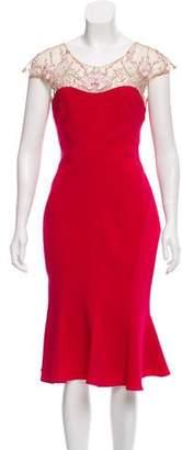 Marchesa Short Sleeve Midi Dress