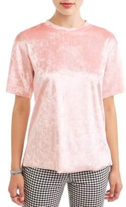 Eye Candy Juniors' Velvet Short Sleeve Tunic T-Shirt