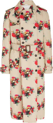 ADAM by Adam Lippes Printed Double Breasted Cotton Twill Trench