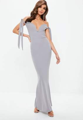 Missguided Grey Sweetheart Neck Bardot Tie Maxi Dress